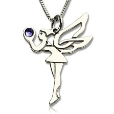 Sterling Silver Personalized Necklaces Sterling Silver Personalized Fairy Necklace With Birthstone