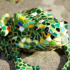 large mosaic coloured resin frog garden ornament by gardens2you