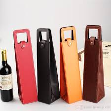 discount wrapping paper wine packing luxury portable pvc leather fashion tote bag gift