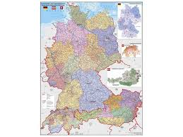 map germany austria postcode wall map d a ch germany wall maps europe wall maps