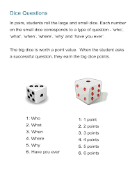 printable question dice dice questions game practice who what when where and why