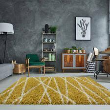 rugs uk modern yellow ochre mustard warm zig zag shaggy rugs soft fluffy thick