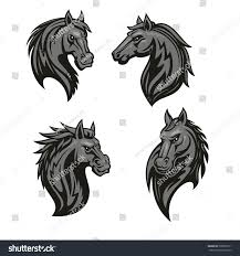 mustang horse drawing black tribal horse icon mustang head stock vector 520030711