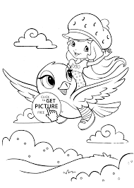 strawberry shortcake coloring pages with bird printable free
