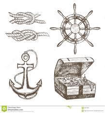 sailor equipment set hand draw sketch vector stock vector image