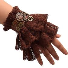 lace accessories women steunk gear brown lace wrist cuff vintage wristbands in