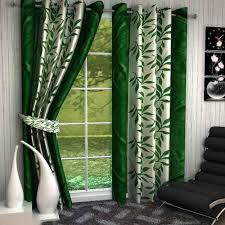 White Curtains With Green Leaves by Jbg Home Store Set Of 3 Door Curtains U0026 Set Of 5 Cushion Cover