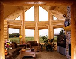 modern log home interiors architectures log home interior design for living room with bay