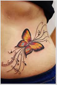 notes and butterfly on lower back