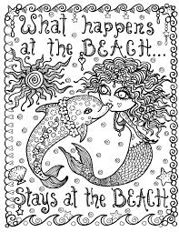 coloring pages mermaids mermaid and dolphin what happens at the beach instant download