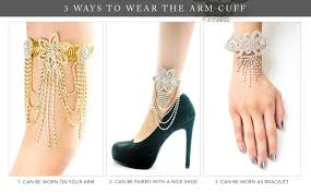ankle cuff bracelet images Ladies lilly flower sexy ankle arm and wrist bling cuff bracelet jpg