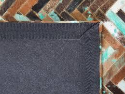Patchwork Cowhide Rug Rug Carpet Cowhide Rug Patchwork 80x150 Cm Brown Blue