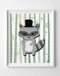 Raccoon Nursery Decor Fox Woodland Animal Nursery Poster Prices From 9 95 Click