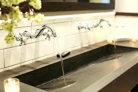 trough sink two faucets trough bathroom sink with two faucets inch wall hung trough bathroom