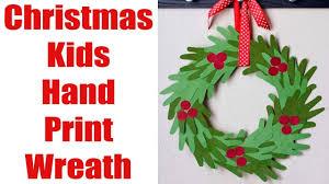 christmas kids hand print wreath craft youtube