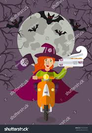 halloween delivery halloween wizard fooddelivery on scooter stock vector
