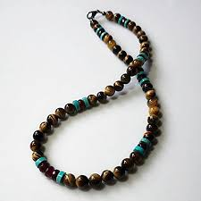 stone turquoise necklace images Mens necklace garnet turquoise and tigers eye natural stone jpg