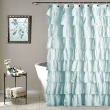 Dainty Home Flamenco Ruffled Shower Curtain Blue Ruffle Shower Curtain Home Design Ideas And Pictures