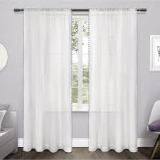 Multi Colored Curtains Ati Home Multi Colored Pom Pom Rod Pocket Window Curtain Panel