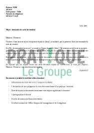 Lettre De Demande De Visa En Anglais lettre de demande de carte de r礬sident pratique fr