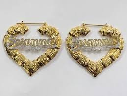 name earrings 14k gold overlay 3 inch any heart bamboo hoop name earring