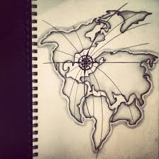 Map With Compass 2 Latest Map Tattoo Designs