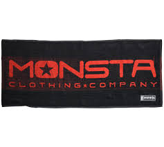 monsta workout cardio bench towel black red defined gym wear