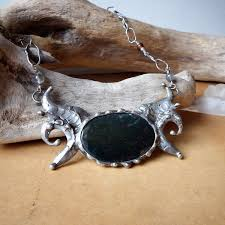 silver agate necklace images Dragon sigil artisan bib necklace with moss agate labradorite jpg