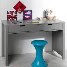 bureau gris laqué bureau 2 tiroirs saké gris