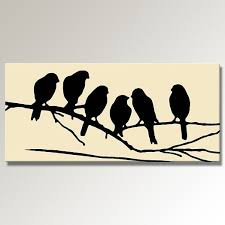 on a branch silhouette black on 44 x 20 panoramic canvas print