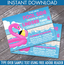 Invitation Card For Pool Party Flamingo Party Invitation Flamingo Birthday Flamingle Pool