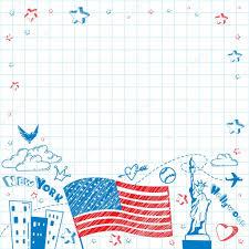 American Flag Doodle Usa Tourism Vector Background U2014 Stock Vector R I S E 104095052