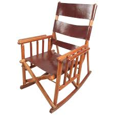 Rocking Chair Runner Mid Century Modern Costa Rican Leather Campaign Folding Rocking