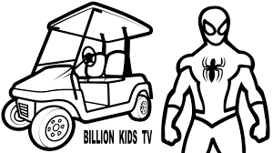 colors small cars golf superheroes spiderman coloring pages