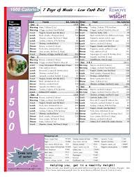 printable low carb diet 1 week 1500 calorie menu plan menu