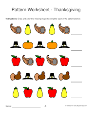 thanksgiving pattern worksheets for 1 2 pattern draw and