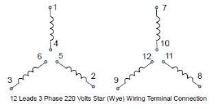 12 leads terminal wiring guide for dual voltage star wye