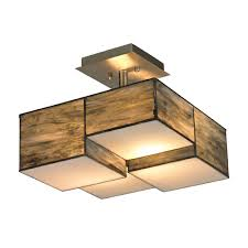 Flush Lighting Fixtures Elk 72071 2 Cubist Contemporary Brushed Nickel Flush Mount Light