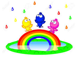 three cute cartoon bird sitting on a rainbow there is a colorful