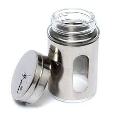 100ml stainless steel glass spice shaker jar adjustable top herbs