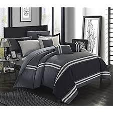 White Gray Comforter Amazon Com Chezmoi Collection 7 Pieces Caprice Gray White Square