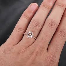 7mm diamond 7mm morganite ring 27ct pave diamond halo engagement 14k