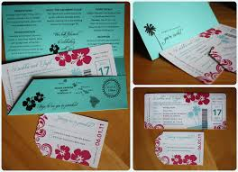 hawaiian themed wedding invitations turquoise pink hibiscus palm tree swirl boarding pass wedding