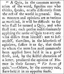 the origin of the word quiz