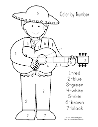 cinco de mayo color by number pages sketch coloring page