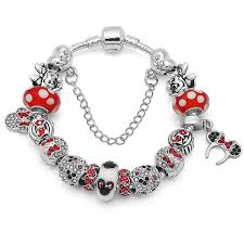pandora make bracelet images Authentic silver handmade diy bracelet with minnie red dot murano jpg