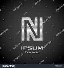 letter n metallic texture3d glossy metal stock vector 590325086