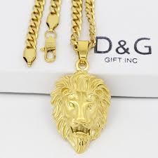 necklace gold man images Dg men 39 s 24 quot gold stainless steel lion head pendant cuban curb jpg