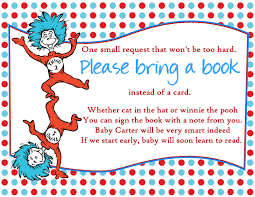 bring a book instead of a card poem doctor seuss baby shower invitations cimvitation