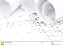 architectural blueprints with house plans stock photo image